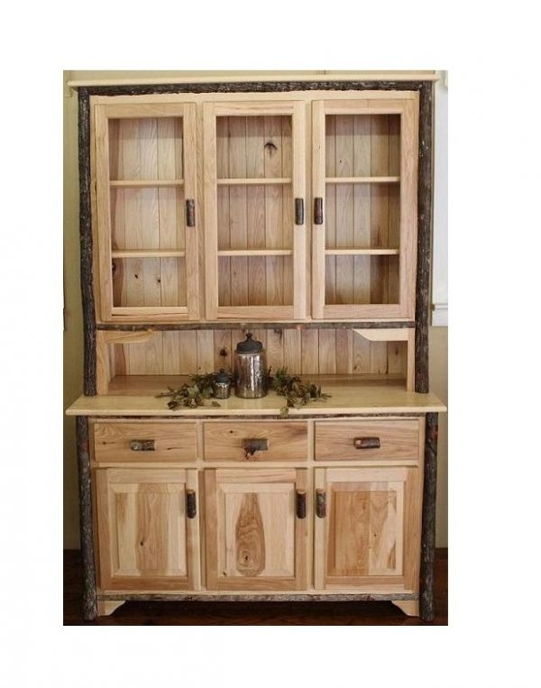 Amish Hickory Hutch with Glass Doors