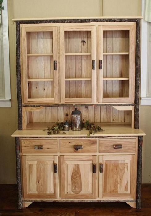 3 Door Hickory Hutch with Glass Doors. Amish Hickory Furniture For Sale in Lancaster  PA   Carriage House