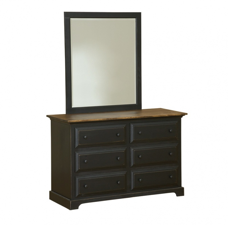 Black 6 Drawer Dresser with Mirror