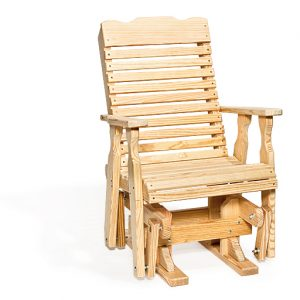Light Wood Curved Back Glider Chair with Armrests