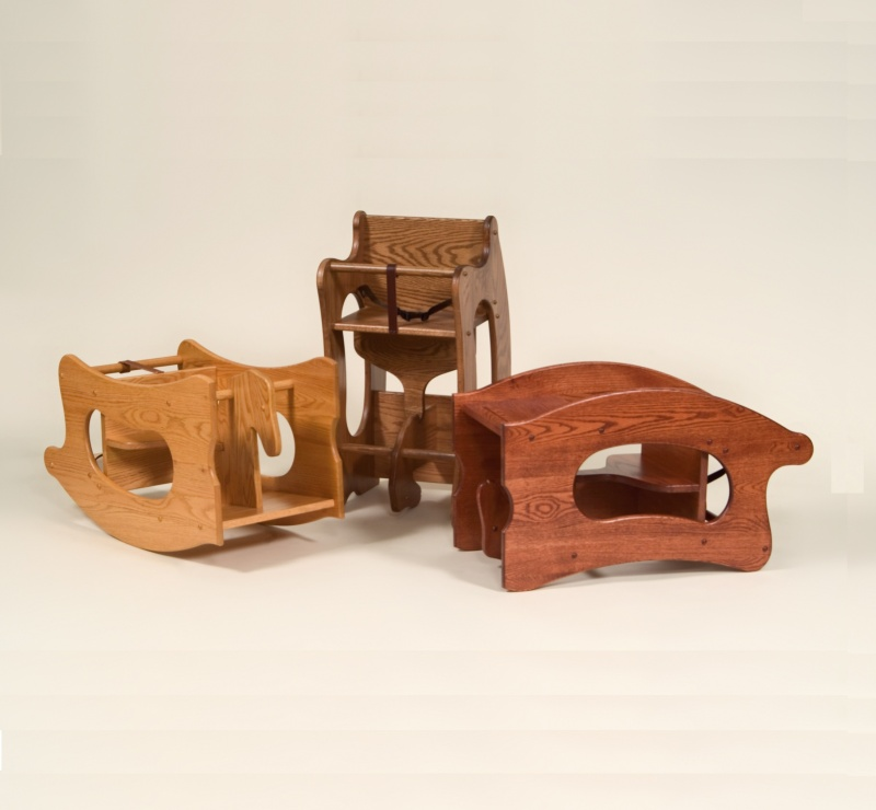 Wood Combo Chair: 3 In 1 Combo Rocking Horse / Chair / Desk