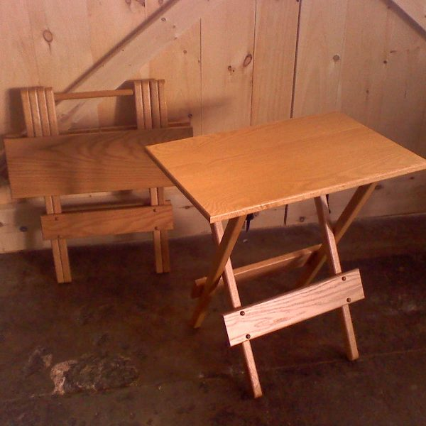 Two Wood Folding Tables, One Folded And One Unfolded