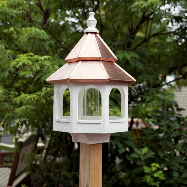 Large Bird Feeder With Copper Roof Carriage House