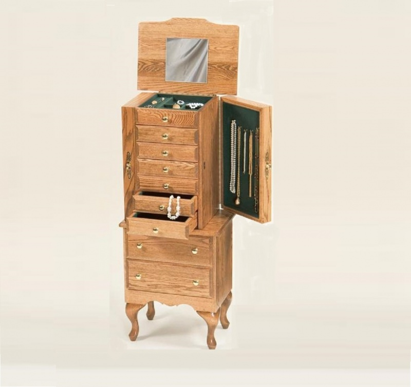 Oak Traditional Jewelry Armoire Carriage House Furnishings