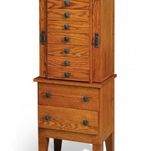Oak Mission Jewelry Armoire