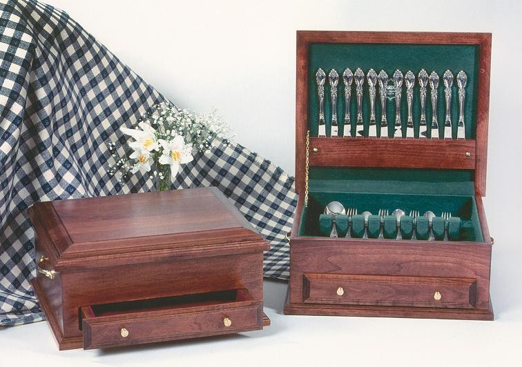 Amish Cherry Wood Silverware Chest
