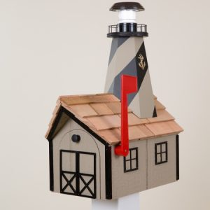 Lighthouse Mailbox with lightbulb in lighthouse
