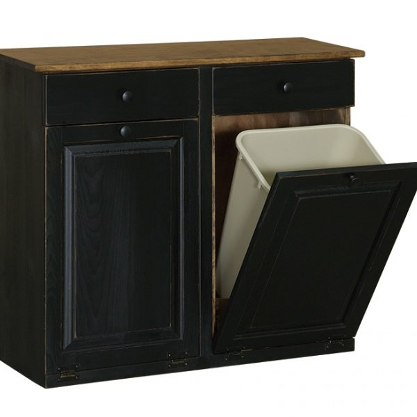Double Trash Cabinet with raised panel & drawer | Carriage ...