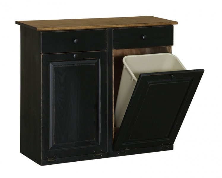 Double Trash Cabinet With Raised Panel Amp Drawer Carriage