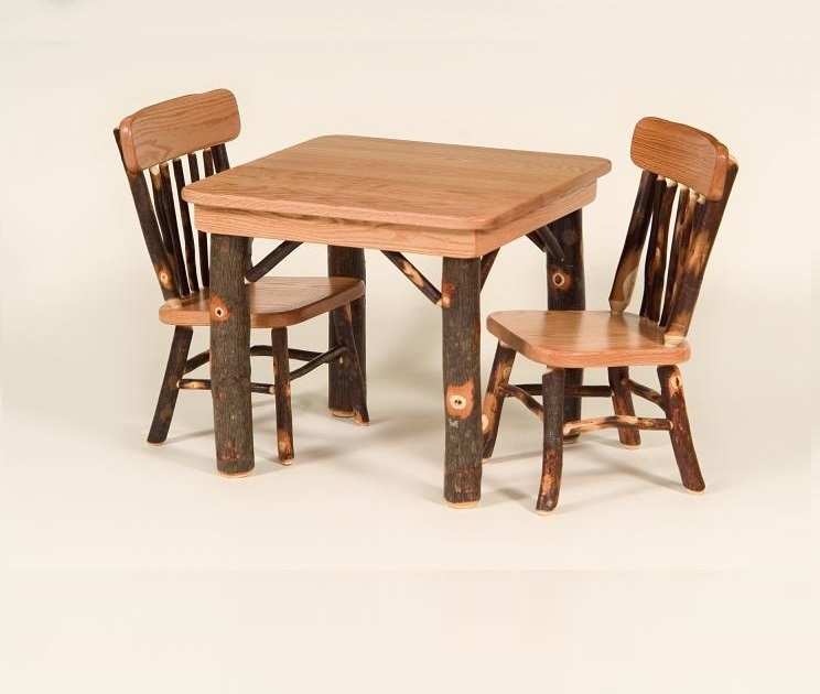 Amish Made Hickory Childrens Table and Two Chairs