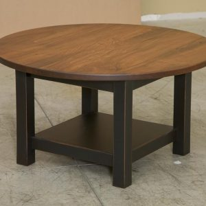 "35"" Round Coffee Table with maple top and shelf"