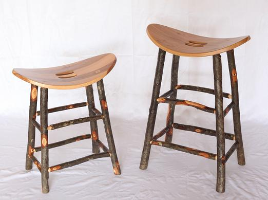 Hickory Wood Saddle Barstools