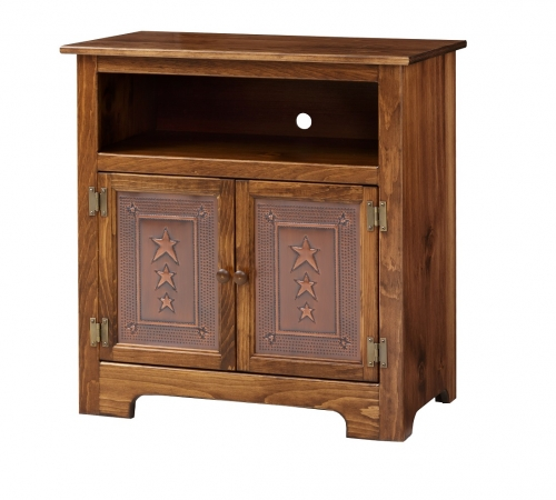 2 Door TV Cabinet w/ copper panel doors