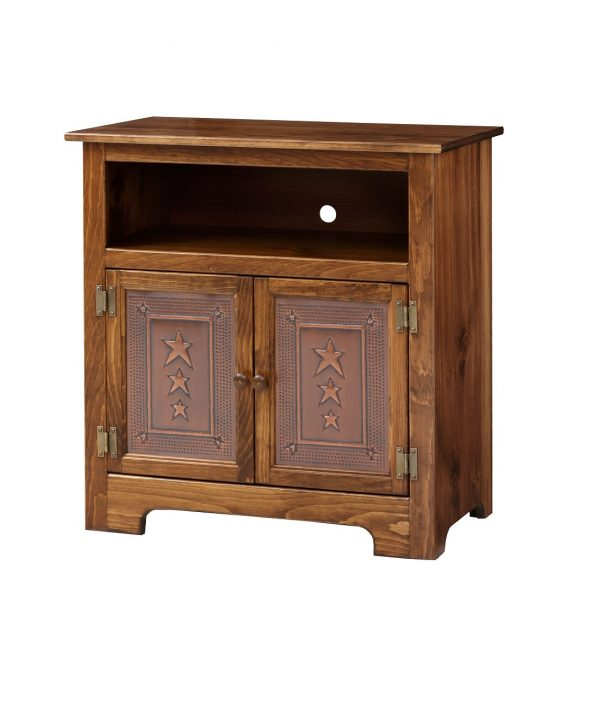 Amish TV Cabinet w/ Copper Panel Doors