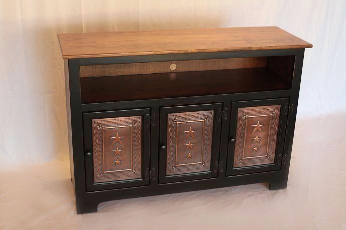 3 Door Plasma Cabinet W Copper Doors Carriage House