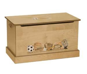 Amish Maple Wood Toy Chest with soccer ball, baseball mitt, other sports items painted