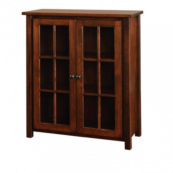 Dark Wood Bookcase with Glass Doors
