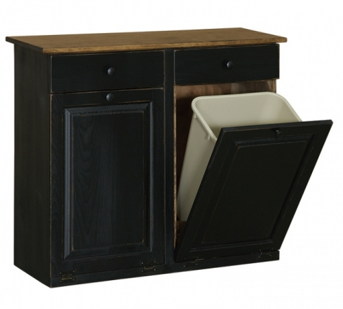 Double Trash Cabinet with raised panel & drawer