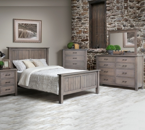Heirloom Mission bed set / solid Rustic White Oak with Pewter Finish