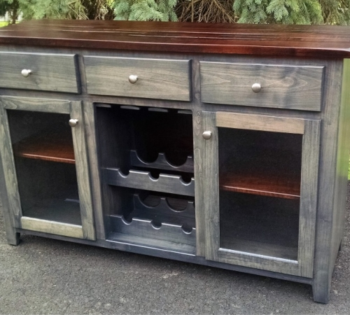 Maple Server with wine cabinet