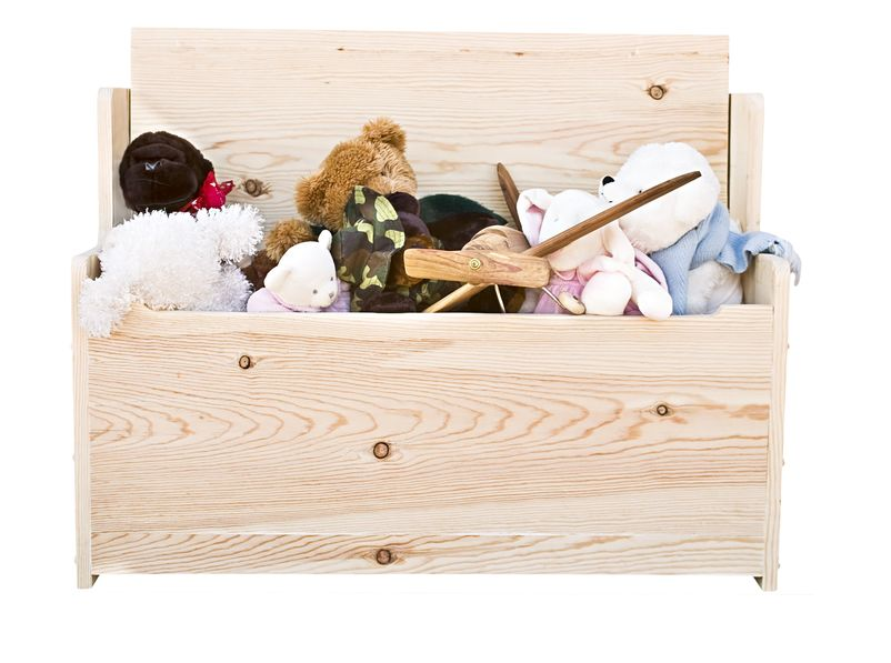 Toy chest with stuffed animals